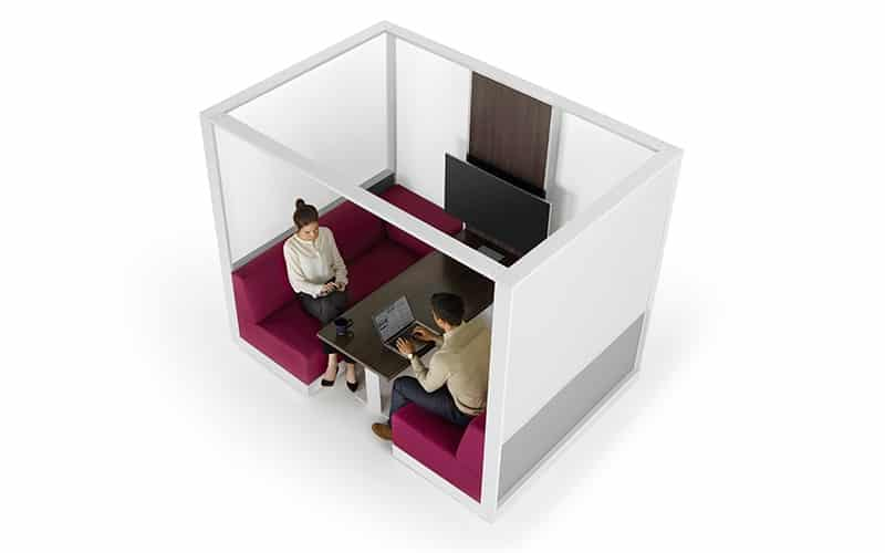"This collaborative workspace dubbed the ""cave,"" is a favorite for modern office designers looking to create an isolated yet integrated workspace. Benches come in a wide variety of colors and desk options. <br> <br> <a href=""https://www.befurniture.com/contact/"">MORE INFO</a><p style=""text-align: right;"">973.828.0541</p>"