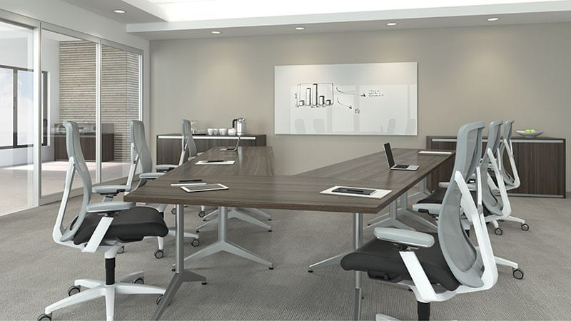 "The modern conference table offers clean lines and a slim sleek look. This table in particular is rock solid with a V-shape perfect for training applications. <br> <br> <a href=""https://www.befurniture.com/contact/"">MORE INFO</a><p style=""text-align: right;"">973.828.0541</p>"